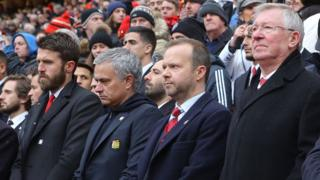 Michael Carrick, former manager Sir Alex Ferguson, executive vice-chairman Ed Woodward and manager Jose Mourinho