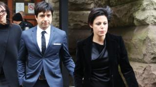 Former Canadian radio host Jian Ghomeshi leaves court with his attorney Marie Henein (R), after an Ontario judge found him not guilty on four sexual assault charges and one count of choking in Toronto, March 24, 2016.