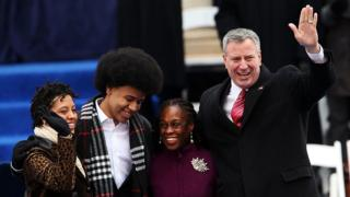 New York Mayor Bill de Blasio, seen here with his wife Chirlane McCray and their children Chiara (far left) and Dante