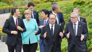G7首脳ら