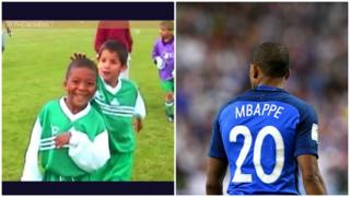 Kylian Mbappe in action for Bondy as a youngster and playing for France