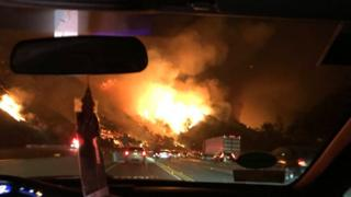 Craig Strazz captured the ferocity of the fire on Interstate 405 close to the Getty Centre