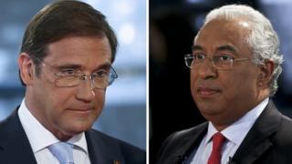 Portuguese Prime Minister Pedro Passos Coelho (L) and Socialist leader Antonio Costa (R)