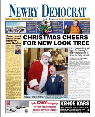 Front page of the Newry Democrat, Tuesday 12 December 2017
