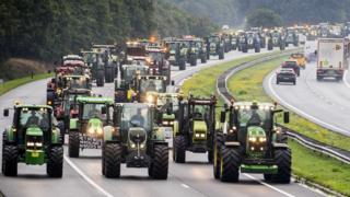 Farmers block the A28 motorway in the Netherlands as they take to the streets to protest on 1 October 2019