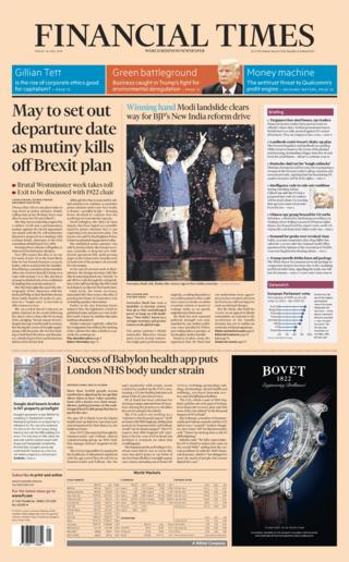 Financial Times front page - 24/05/19