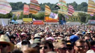 View of Glastonbury Festival