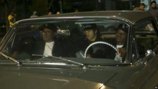 Corey Hawkins, from left, as Dr Dre, O'Shea Jackson Jr. as Ice Cube, and Jason Mitchell as Eazy-E