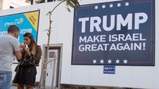 Tel Aviv'deki Trump yanlısı pankart