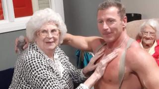 Joan at care home with stripper