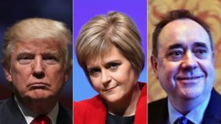 Donald Trump, Nicola Sturgeon and Alex Salmond