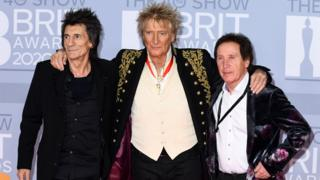 Ronnie Wood, Rod Stewart and Kenney Jones
