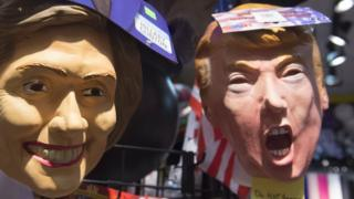 Masker Hillary dan Trump