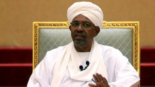 Suden's former president Omar al-Bashir at a meeting in Khartoum, April 2019