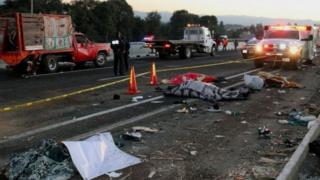 Road accident in Santa Rita Tlahuapan, Puebla, on the Mexico City-Puebla highway in Mexico on December 12, 2017