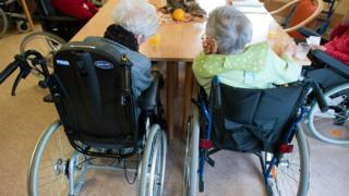 File picture of elderly women in wheelchairs at a nursing home in Frankfurt Oder, eastern Germany