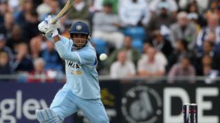 Ganguly playing a shot in an ODI match