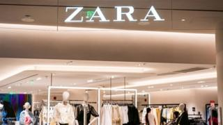 Spanish fast fashion retailer Zara store and logo seen in Shanghai.