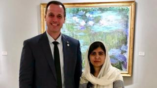 Quebec Education Minister Jean-Francois Roberge with Malala Yousafzai