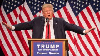 US Republican presidential candidate Donald Trump addresses the audience in Eugene, Oregon
