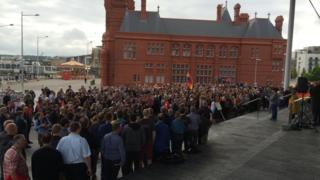 The vigil outside the Senedd