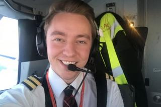 Over achiever: At 22, Robbie Cockburn is Loganair's youngest pilot