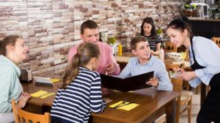 Family in restaurant