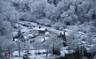Snow covers Ironbridge in Shropshire.