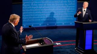 US election 2020: Trump and Biden clash in primetime debate thumbnail