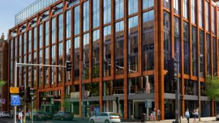An artist's impression of the new office block at Wellington Place in Belfast