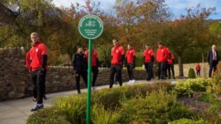 Welsh football team at Aberfan memorial