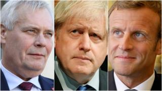 Finnish PM Antti Rinne (left) says he and French President Emmanuel Macron (right) agreed the new deadline for Boris Johnson (centre)