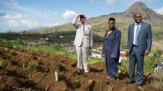 The Prince of Wales visits Bellevue Chopin Farm on Dominica during his tour of hurricane-ravaged Caribbean islands