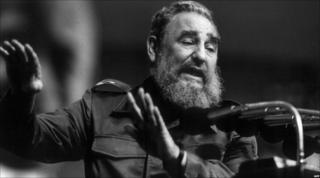 Cuban President Fidel Castro addresses the Confederation of Cuban Workers union (CTC) 28 January 1990 in Havana.