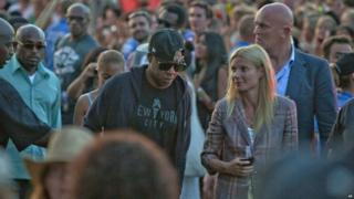 Jay-Z and Gwyneth Paltrow at Glastonbury Festival
