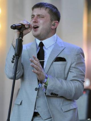 Plan B performing at Glastonbury