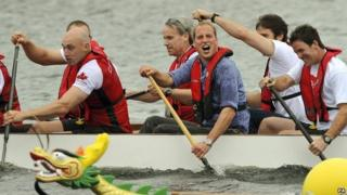 Prince William on a dragon boat