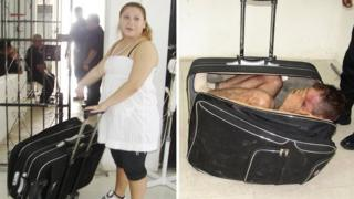 A woman has been caught trying to smuggle her husband out of a Mexican prison in a suitcase!