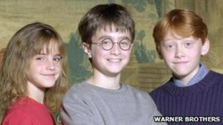 Emma Watson, Daniel Radcliffe and Ruper Grint, who play Emma Watson, Harry Potter and Ron Weasley in the Harry Potter films