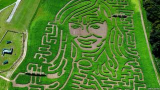 Maze in the shape of singer Katherine Jenkins at Heatherton Country Sports Park in Pembrokeshire.
