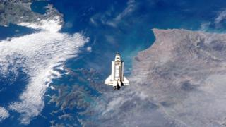 Space shuttle Endeavour in 2002 - New Zealand can be seen in the background!