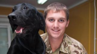 Army dog Hobo was injured by the Taliban