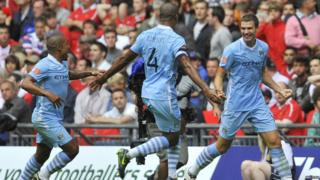 Community Shield: Manchester United 3-2 Manchester City - Edin Dzeko celebrates the second goal for City