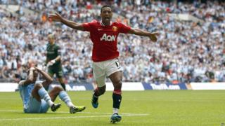 Community Shield: Manchester United 3-2 Manchester City - Nani celebrates netting the winning goal