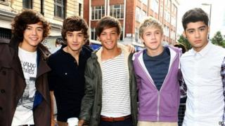 One Direction pose outside BBC Radio 1