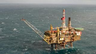 Shell oil platform in the North Sea