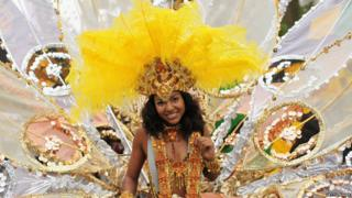 A performer at the Notting Hill Carnival, in London