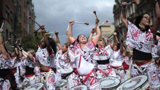 Drummers performing at the Notting Hill Carnival, in London