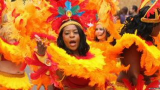 Performers at the Notting Hill Carnival, in London
