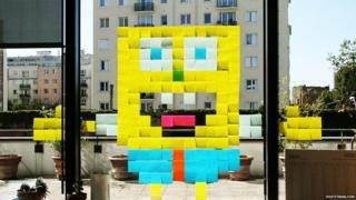 SpongeBob SquarePants made from sticky notes
